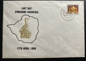 1980 Salisbury Southern Rhodesia First Day Cover FDC Last Day Of Zimbabwe Issue