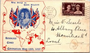 King George VI Queen Mum Mother Elizabeth coronation 1937 UK fancy cachet FDC