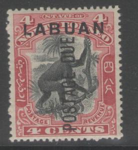 LABUAN SGD3b 1901 4c BLACK & CARMINE p14½-15 MTD MINT