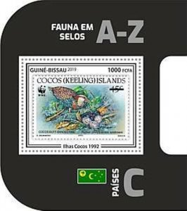 Guinea-Bissau - 2019 WWF Fauna Stamp on Stamp - Souvenir Sheet - GB190403b13