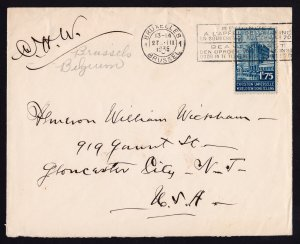 PRE-WW2 COVER BRUSSELS BELGIUM TO NEW JERSEY USA - 1935