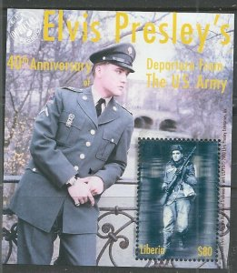 Liberia   not listed in Scott - Elvis 40th Anniverary Army Departure - MH  (s/s)