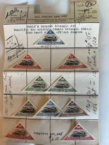 Mozambique Company 1935 complete set two colored airmail triangle stamps
