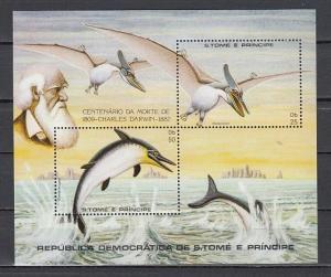 St. Thomas, Scott cat. 670 A-B. Charles Darwin sheet. Prehistoric Fauna shown.