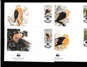 Mauritius - Fauna WWF - 4 FDC - Birds - PINK PIGEON
