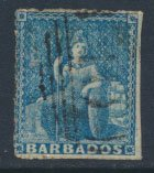 Barbados SG 14 SC# 11 Used Pale Blue partial margins  see scans and details
