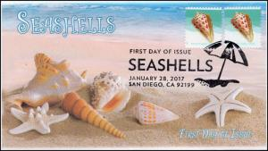17-026, 2017, Seashells, Post Card Rate 34 cents, FDC, Pictorial, alphabet cone