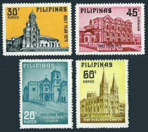 Philippines 1281-1284,MNH. Churches 1975.San Agustin,Morong,Basilica of Taal.