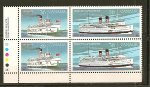 Canada 1139-1140 Steam Ship Segwun/ Princess Marguerite Se-tenant Block of 4 MNH