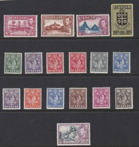 ST LUCIA  1938 - 48  S G 128 - 141  SET OF 17  MH CAT £80