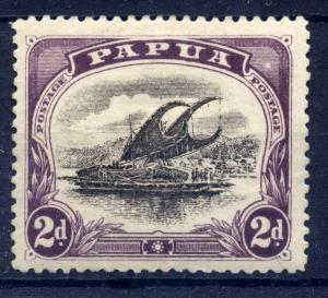 Papua 1909 sg 68 2d blk & purple - var white spot flaw, posn 14 - LM