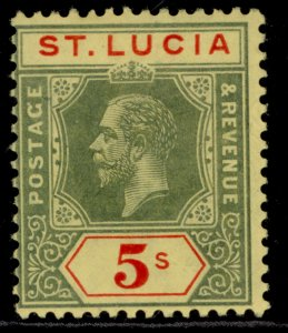 ST. LUCIA GV SG88, 5s green & red/yellow, LH MINT. Cat £25.