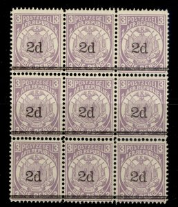 SOUTH AFRICA - Transvaal QV SG194, 2d on 3d mauve, NH MINT. Cat £27. BLOCK x 9