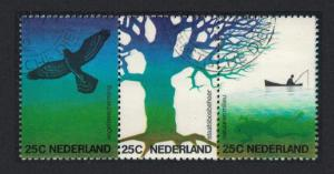 Netherlands Birds Nature and Environment strip of 3v canc SG#1184-1186