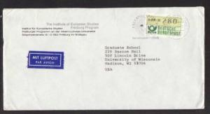 Germany to Madison WI 1985 Frama Airmail  # 10 Cover