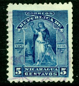 Nicaragua 1894 Seebeck 5¢ Victory Postally Used B604 ⭐⭐⭐⭐⭐⭐