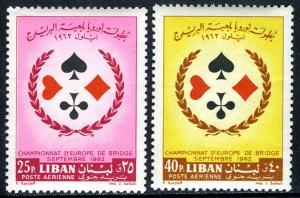 Lebanon C353-C354,MNH.European Bridge Championship.Spade,Heart,Diamond,Club,1962
