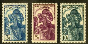 FRENCH GUINEA 157-159 MLH SCV $3.50 BIN $1.75 CULTURAL
