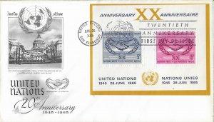 1965 FDC, #145 (NY), 20th Anniversary S/S, Art Craft
