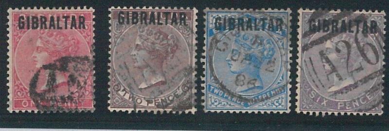 56268 - GIBRALTAR -  POSTAL HISTORY: SG 9 + 10 + 11 + 13  USED  - VERY NICE