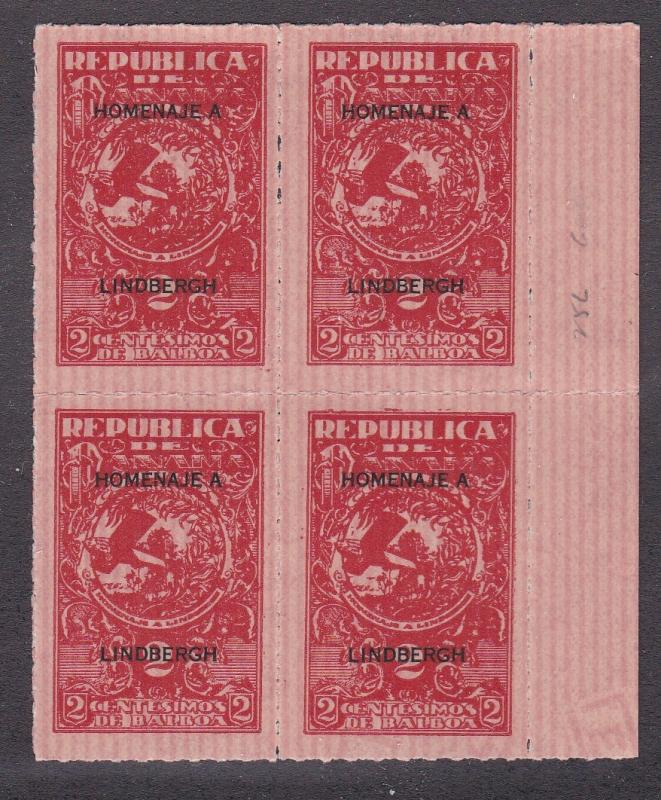 Panama # 256, Lindberghs Visit, NH Block of Four