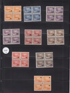Costa Rica Telegraph, Sc #13-19 Specimen Blocks (24705)