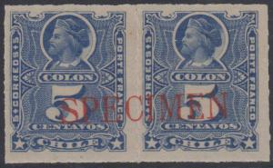 CHILE 1878-99 COLUMBUS Sc 28 PAIR LARGE RED SPECIMEN OVPT HINGED MINT