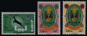 Libya 307-9 MNH Girl Scout Camp, Boy Scout Camp, Gazelle