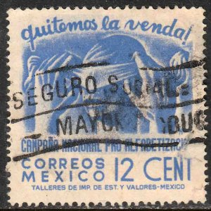 MEXICO 808, 12¢ Blindfold, Literacy Campaign Used VF, (843)