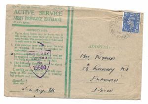 Active Service Army Privilege Envelope, 1944, to Exmouth, Devon; Field PO dcds