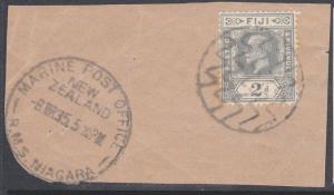 FIJI NEW ZEALAND 1935 MARINE POST OFFICE RMS NIAGARA cds on piece..........54119
