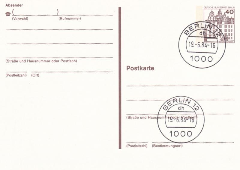 West Berlin 40pfg Prepaid Postcard FDC Unused VGC