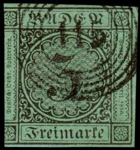 Germany - Baden Scott 7 (1853) Used H F-VF, CV $14.00 B
