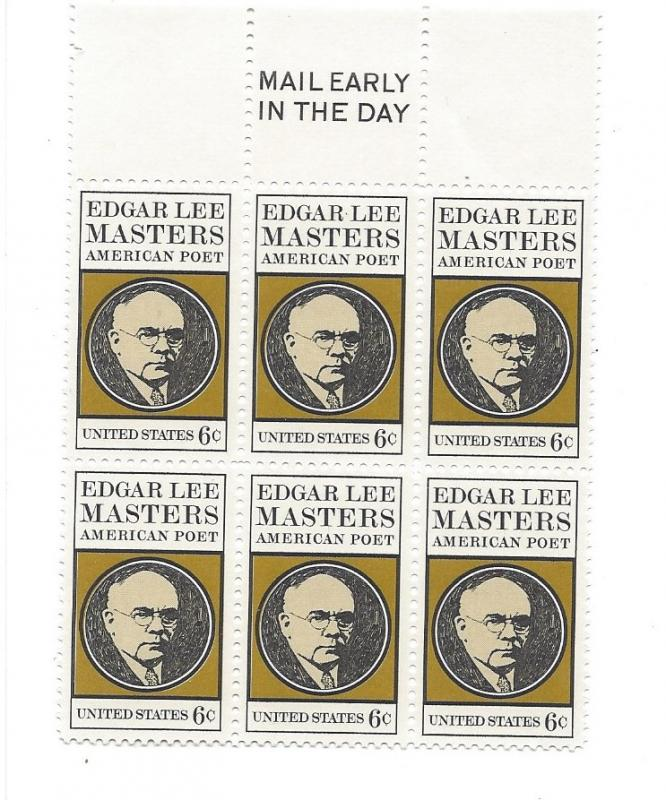 United States, 1405, Edgar L. Masters Mail Early Block of 6, TOP, MNH