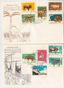 HABANA -  set of 4 FDC COVER - Animals ZOO: Lions Elephant Zebra Monkey Kangaroo