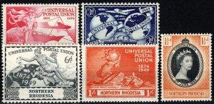 Northern Rhodesia #50-53, 60 F-VF Unused CV $5.70 (X702)
