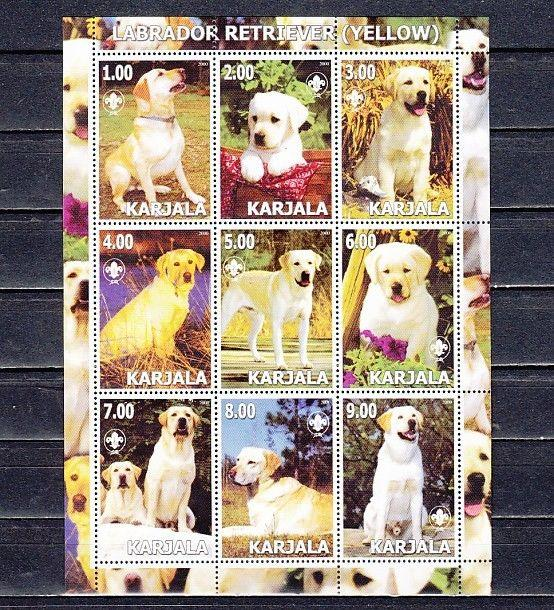 Karjala  2000 Russian Local. Yellow Labrador Retriever sheet of 9.  Scout logo.