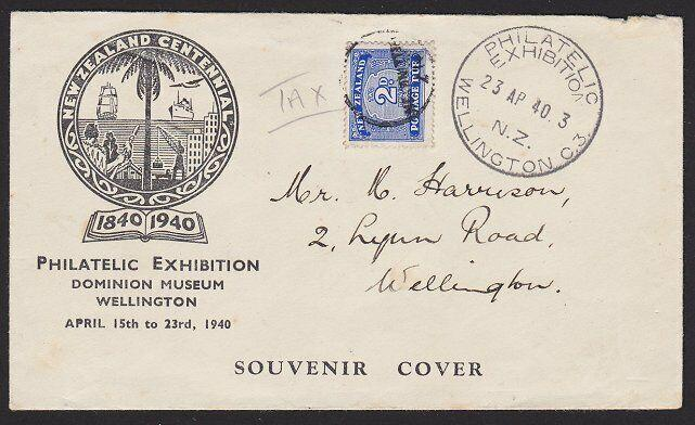 NEW ZEALAND 1940 Exhibition cover sent unpaid - 2d postage due added........1878