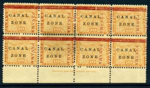 Canal Zone Scott #13 Overprint Mint Block of 8 (Stock #CZ13-31)