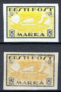Estonia 1919, Vikingship 5 Mark, Mi 13x and 13y MNH (E100017)