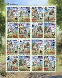 Niger - 2019 West African Giraffe & WWF Overprint - 16 Stamp Sheet - NIG190524f1
