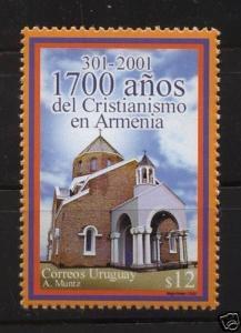Religion 1700 of Christianism in Armenia church in URUGUAY Sc#1944 MNH STAMP