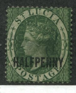 St. Lucia QV 1881 overprinted Halfpenny mint no gum thin