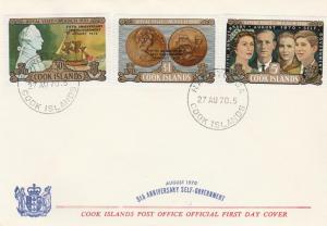 Cook Islands #287-9  - 5th Anniversary of Self Government - 1970 FDC