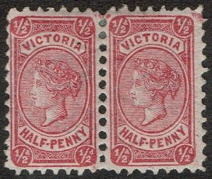 VICTORIA 1878 QV 1/2D PAIR ON PINK EMERGENCY PAPER