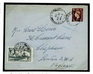 O191c GB GIBRALTAR MIXED FRANKING *Orient Line* Maritime Mail 1939