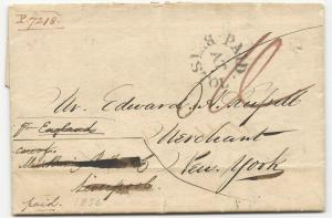 US Stampless Ship Cover Folded Letter Bristol via Liverpool Paid Dec 27, 1835