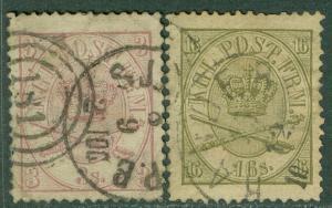 DENMARK : 1864-65. Scott #12, 15 Very Fine, Used. Both nice stamps. Catalog $250