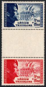 France B147a pair with albino inpression, MNH. Tricolor Legion, 1942