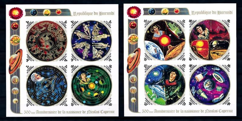 [66431] Burundi 1973 Space Travel Weltraum Copernicus 2 2 Imperf. Sheets MNH